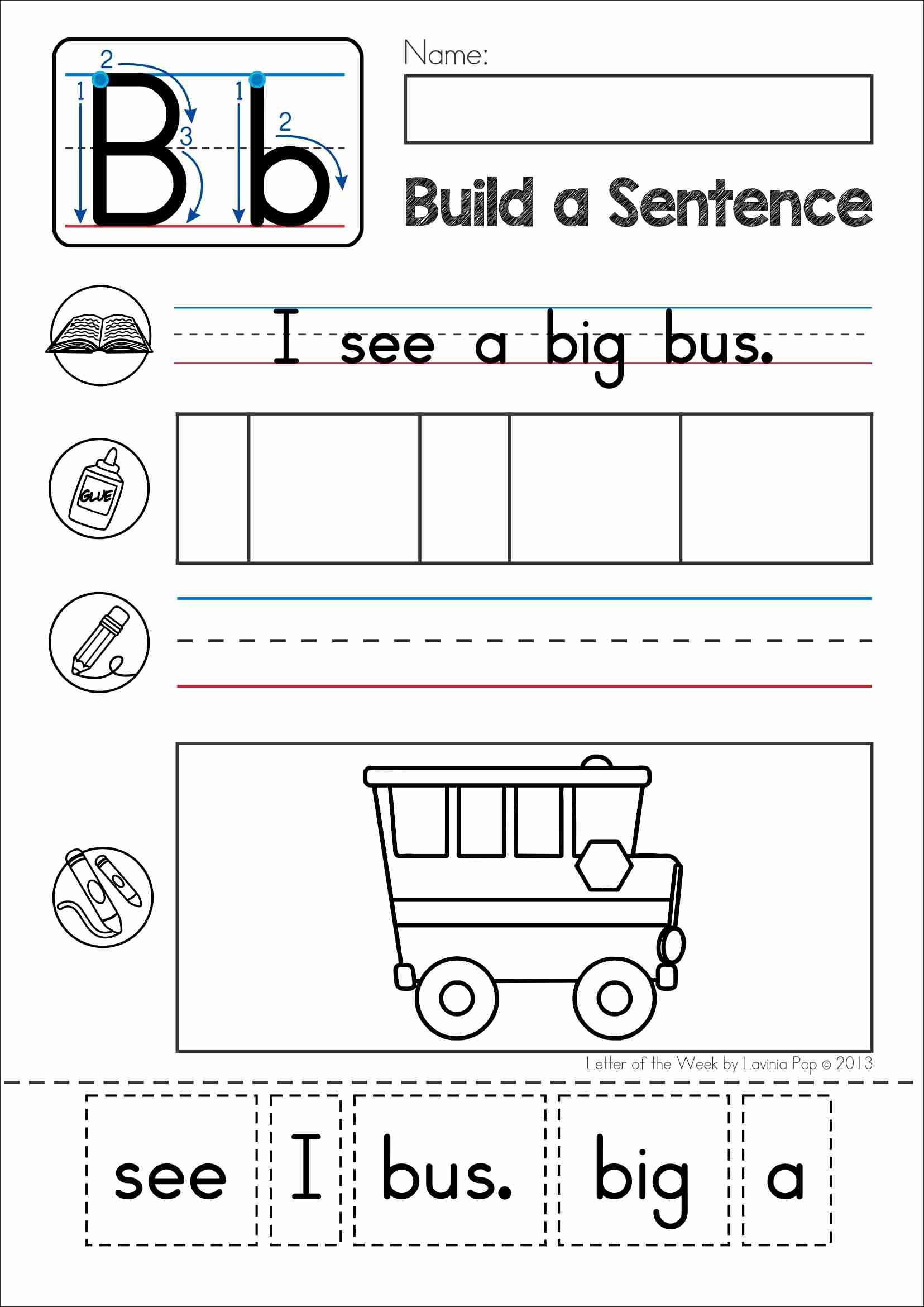Phonics Letter of the Week B. Build a sentence cut and paste ...