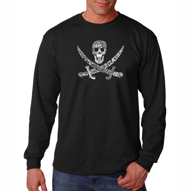 Los Angeles Pop Art Men's 'Pirate Pictures' Long Sleeve T-shirt
