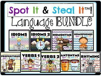 Literacy Center Games: Idioms and more!! SPOT IT & STEAL IT