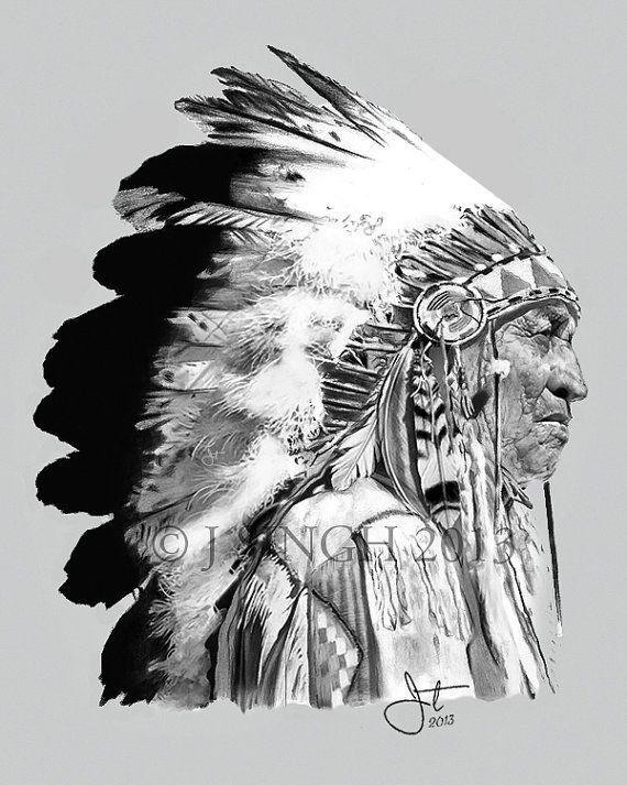 Indian Chief Print 11x14 by JTSingh on Etsy in 2019 ...