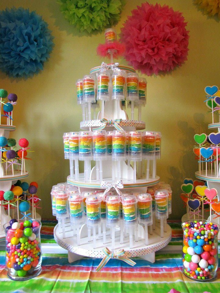 push up cake and cake pops and rainbows! http://thewhimsicalcakecompany.co.uk/    If only I were that motivated, this could be cute for the twins' b-day party