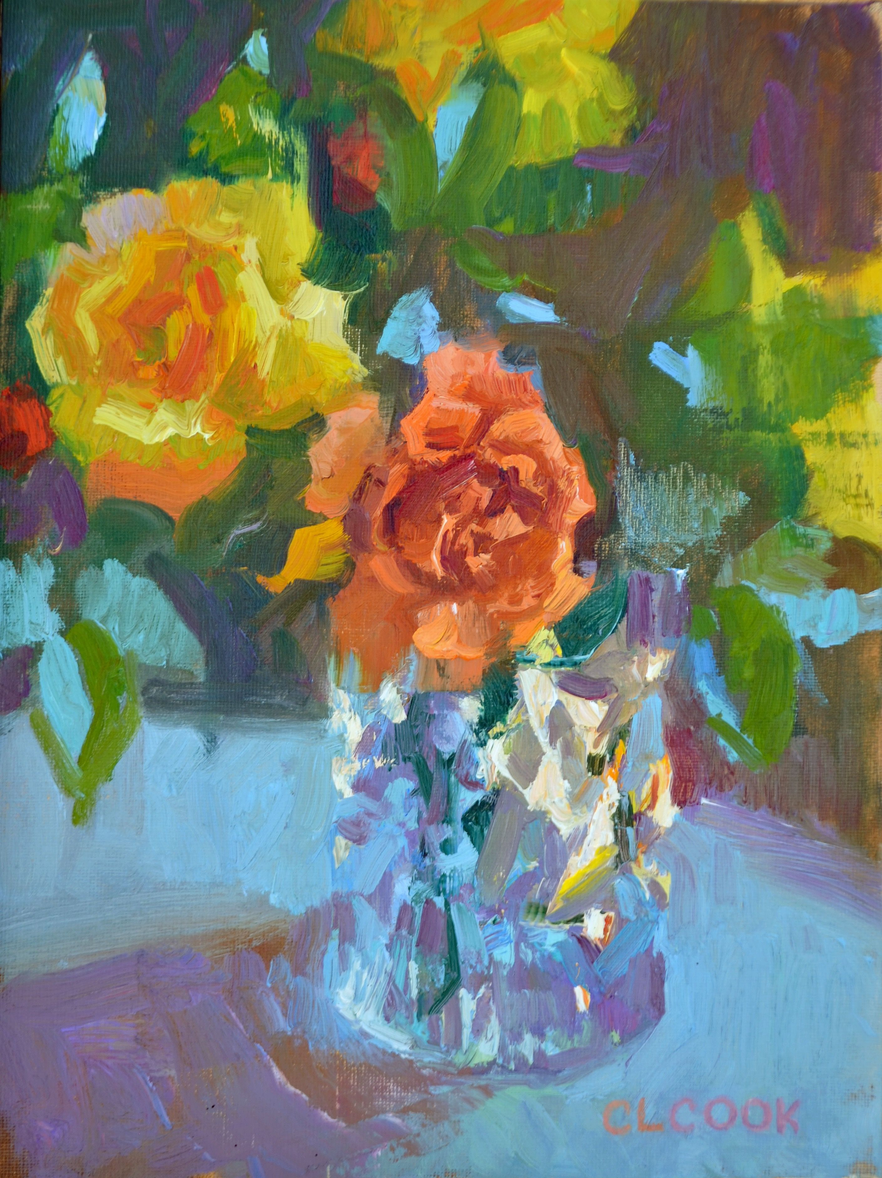 Crystal bloom 12x9 oil on canvas by clcook painting