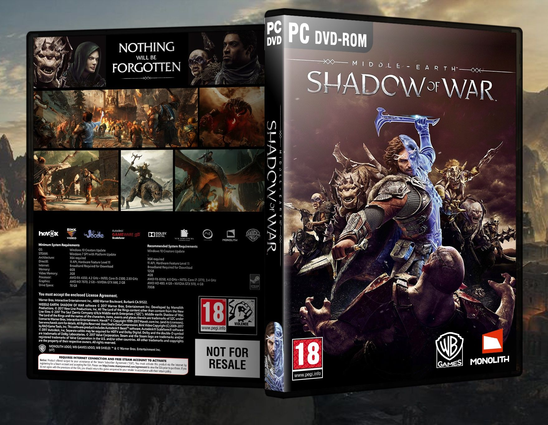 Middle-earth: Shadow of War box art cover | PC DVD Covers