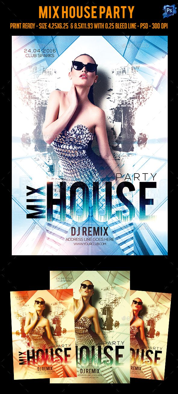 Mix house party flyer party flyer flyer template and house buy mix house party flyer by sparkg on graphicriver mix house party flyer its unique flyers poster design for your business advertisement purpose saigontimesfo