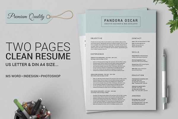 2 Pages Clean Resume CV - Pandora Resume cv and Print templates - resume 1 or 2 pages