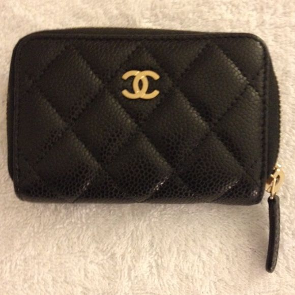 Authentic Chanel O-Coin Purse Authentic Chanel card case in black caviar  leather with gold hardware purchased 7 16 2015. Will receive original store  receipt ... 9b71d0aa8ca86