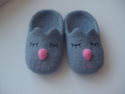 grey cat slippers