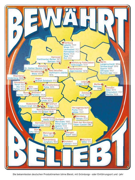 Deutschlandkarte Traditionsmarken Deutschlandkarte Deutsche