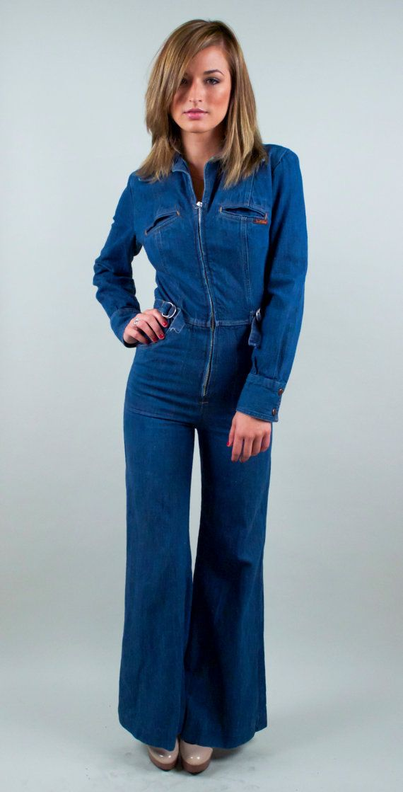52793781b53 Vintage 70s Denim Bell Bottom Jumpsuit palazzo pant wide leg disco ...