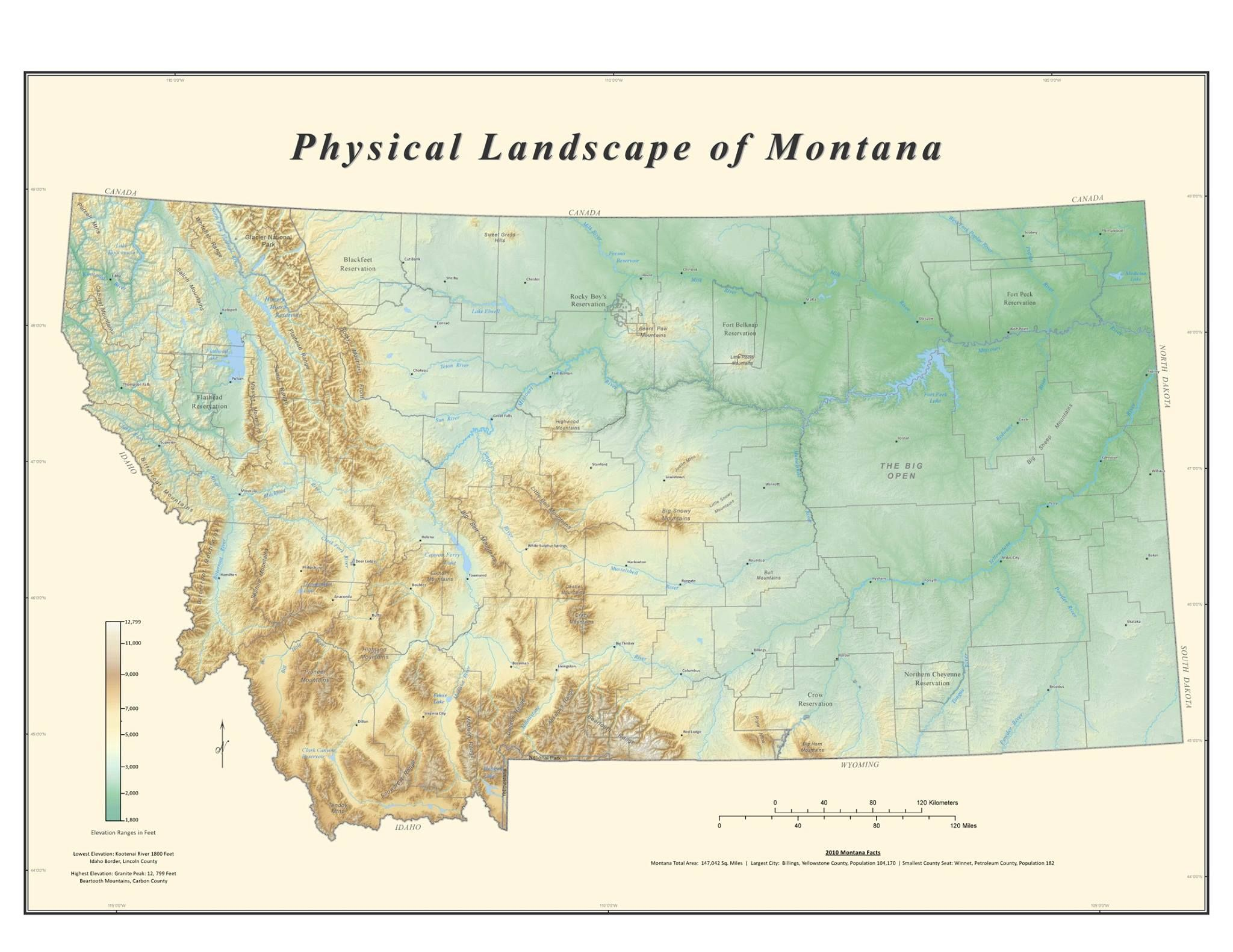 Physical Landscape Of Montana This Shaded Relief Map Of