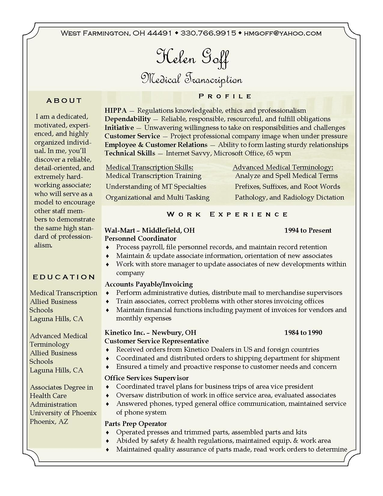 Helen Goff Resume  Medical Transcription Resume Career