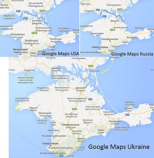 Status of Crimea from Google Maps in Russia/United...   Maps ...