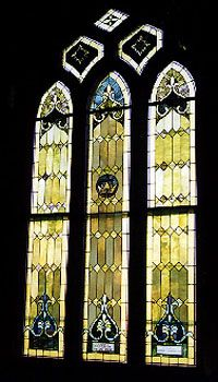 One of the stained glass window after restoration relead installed