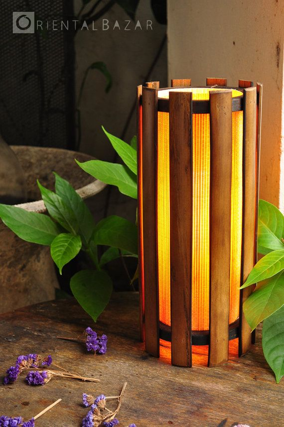 Bamboo Cylinder shaped Table Wall Lamp / by by OrientalBazar - decoracion con bambu