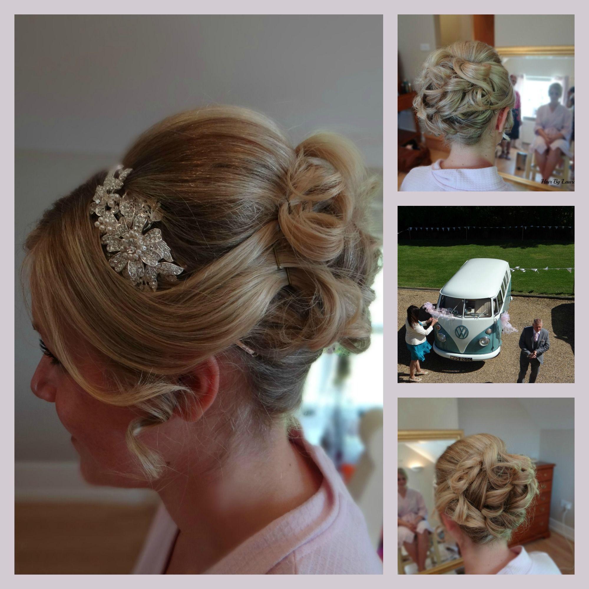 beautiful bridal hair. side tiara. soft curls pinned up