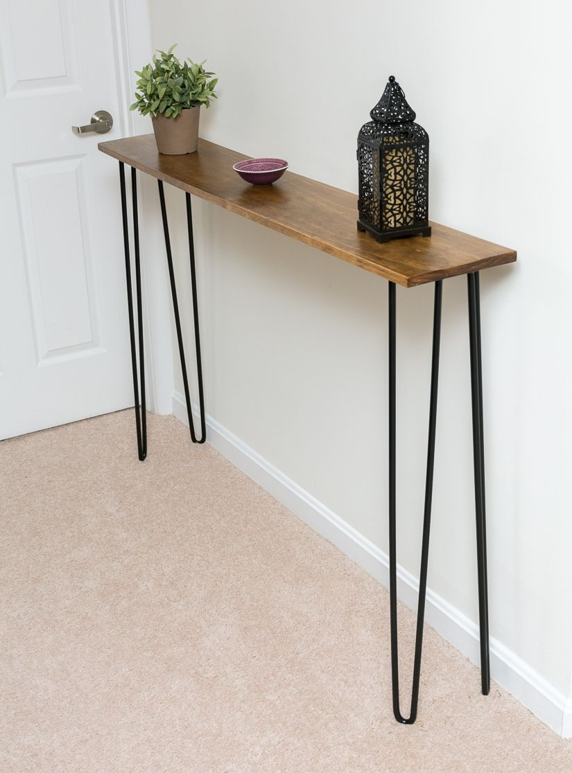 Diy Hairpin Leg Console Table Make An Easy Modern Console Table Diy Console Table Modern Console Tables Narrow Console Table