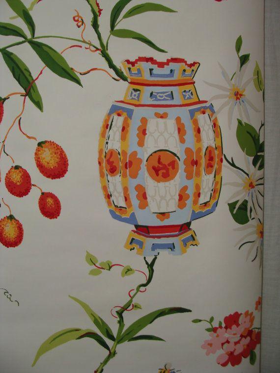 Vintage chinoiserie wallpaper ginger jar japanese lanterns by studio180 sold