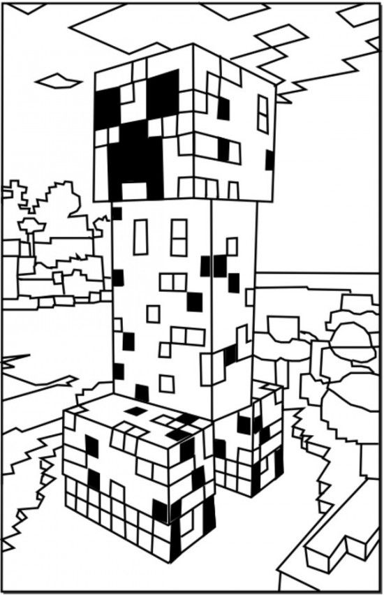 Minecraft Creeper Coloring Pages 550x852 Picture