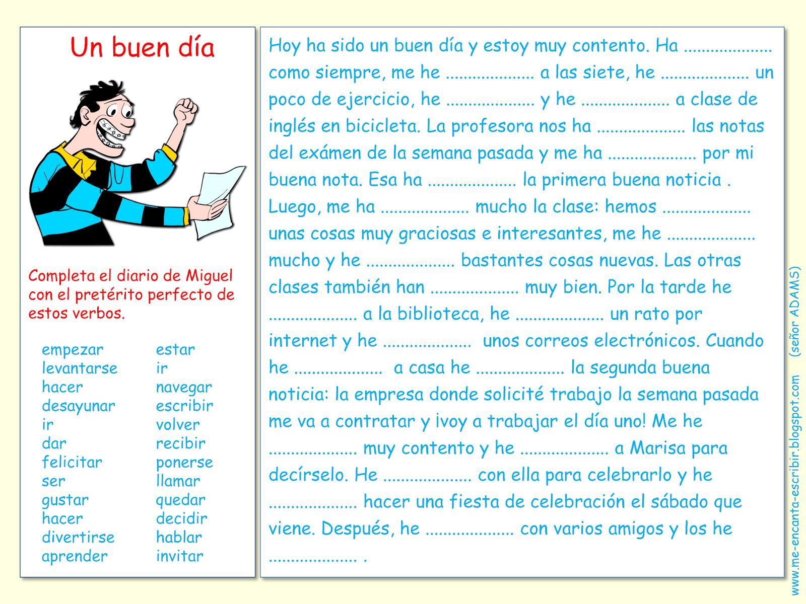 Me Encanta Escribir En Espanol El Preterito Perfecto