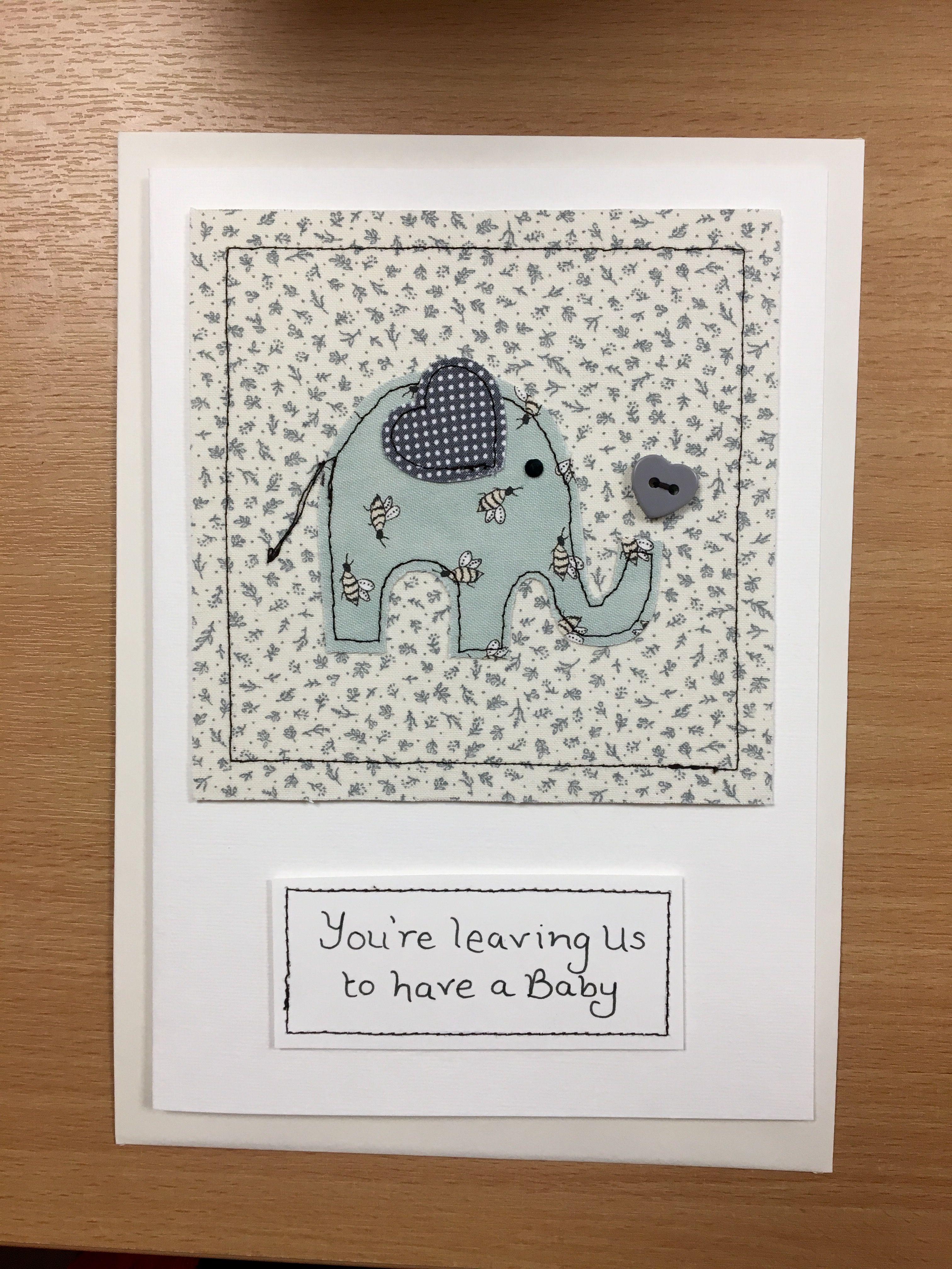 Hand made machine sewn elephant card made with pretty fabrics and