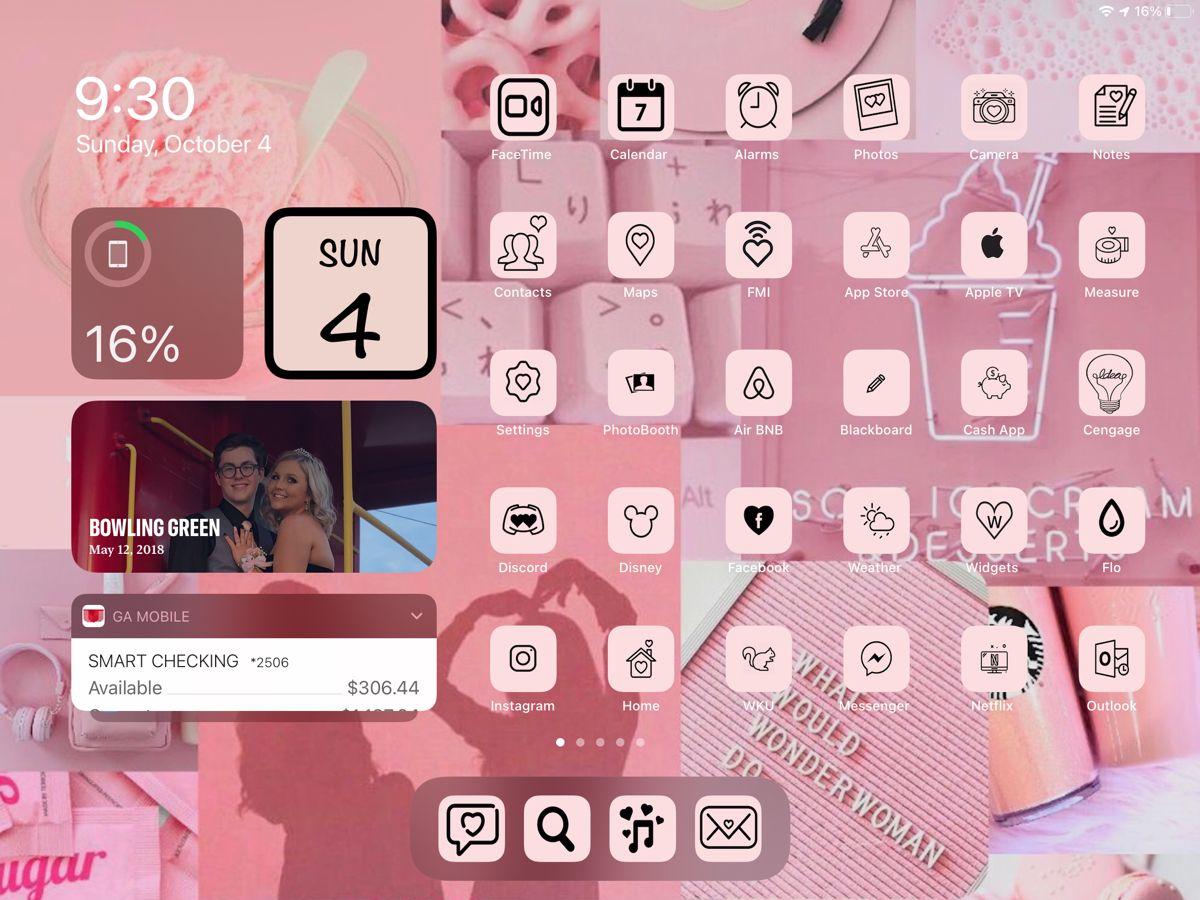Pink Ios14 Ipad Widgets Icons Widget Icon App App Icon