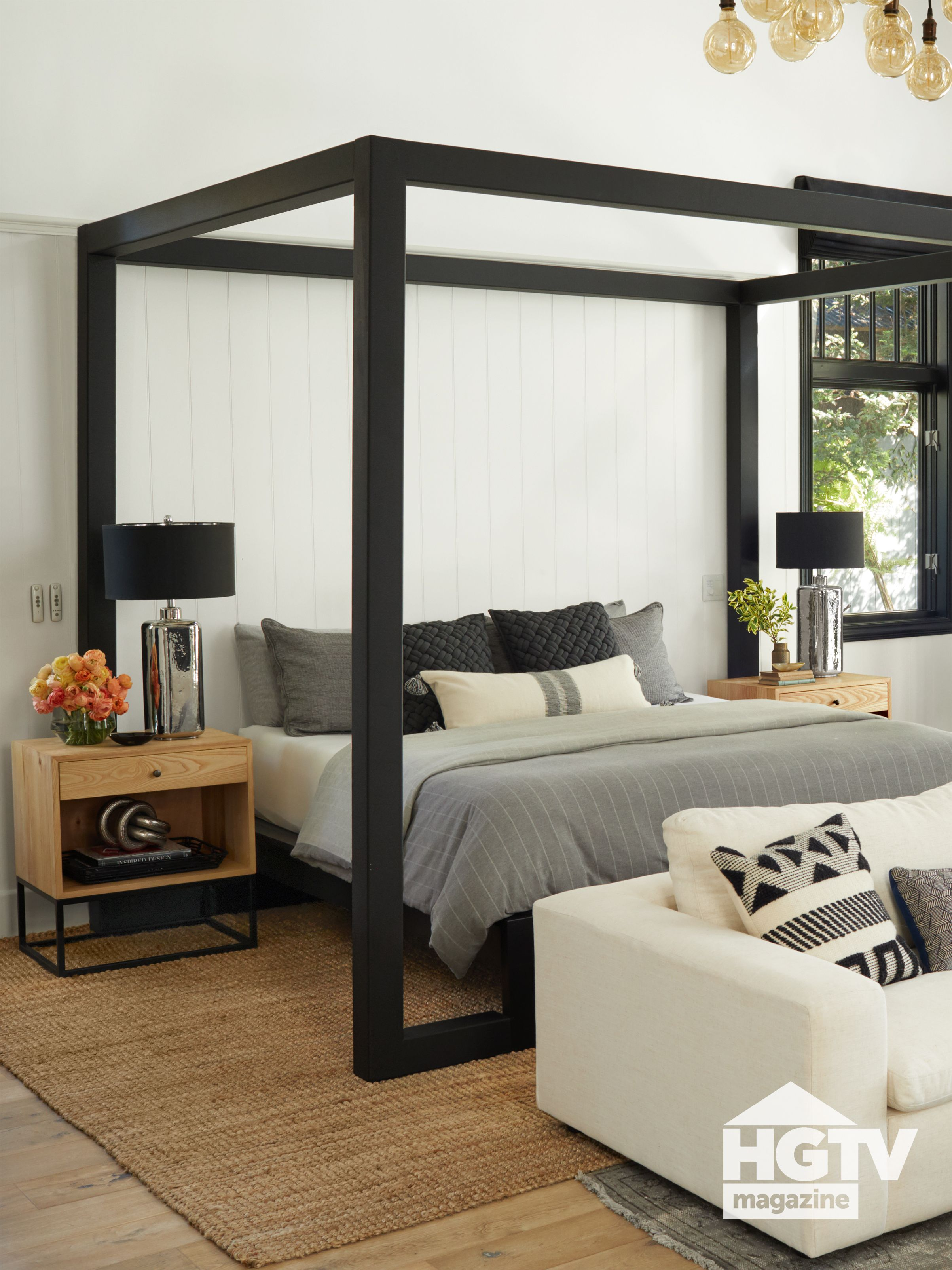 A Black Canopy Bed Featured In Hgtv Magazine Black Canopy Beds Canopy Bedroom Sets Modern Canopy Bed