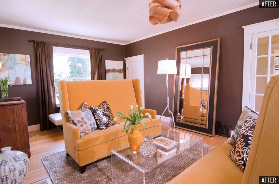 chocolate brown accent wall  sofa design brown walls