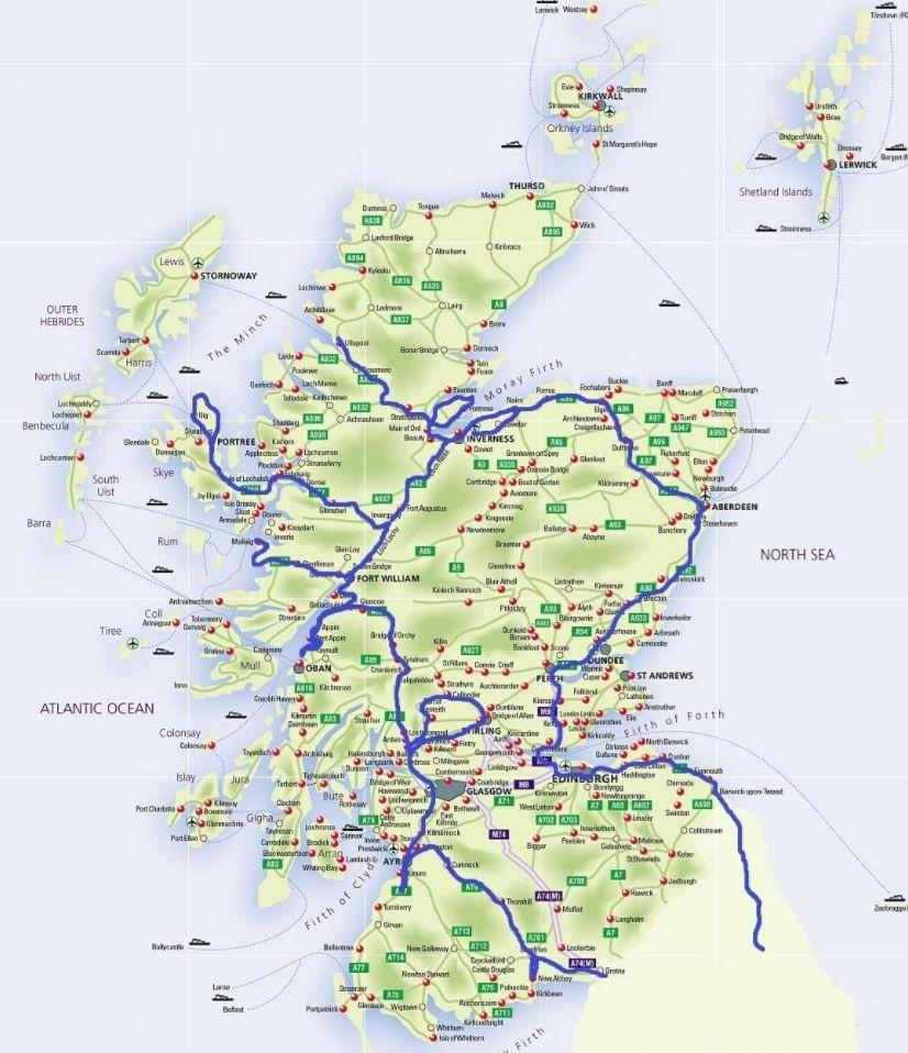 Mapa De Escocia Mapa Turistico Mapas Del Mundo Mapas