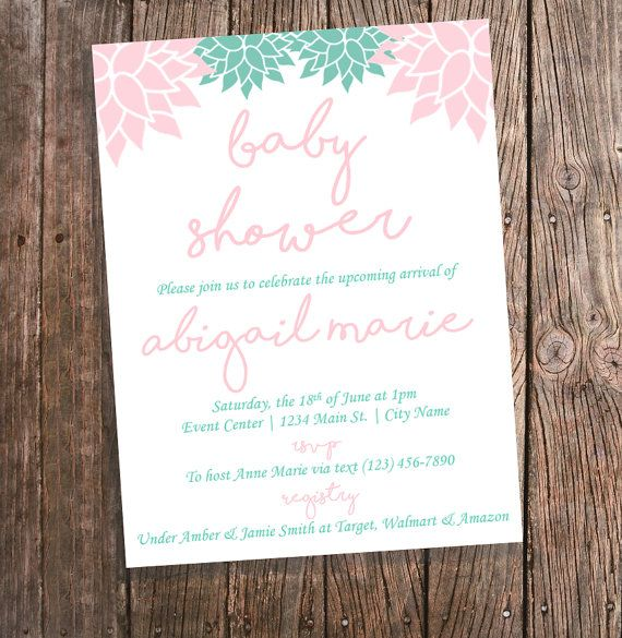 Mint and coral baby shower invitations with baby name by mint and coral baby shower invitations with baby name by bluepandainvitations filmwisefo