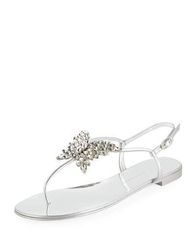 ae6458ecafea5 Giuseppe Zanotti Flat Metallic Leather Thong Sandals with Butterfly ...