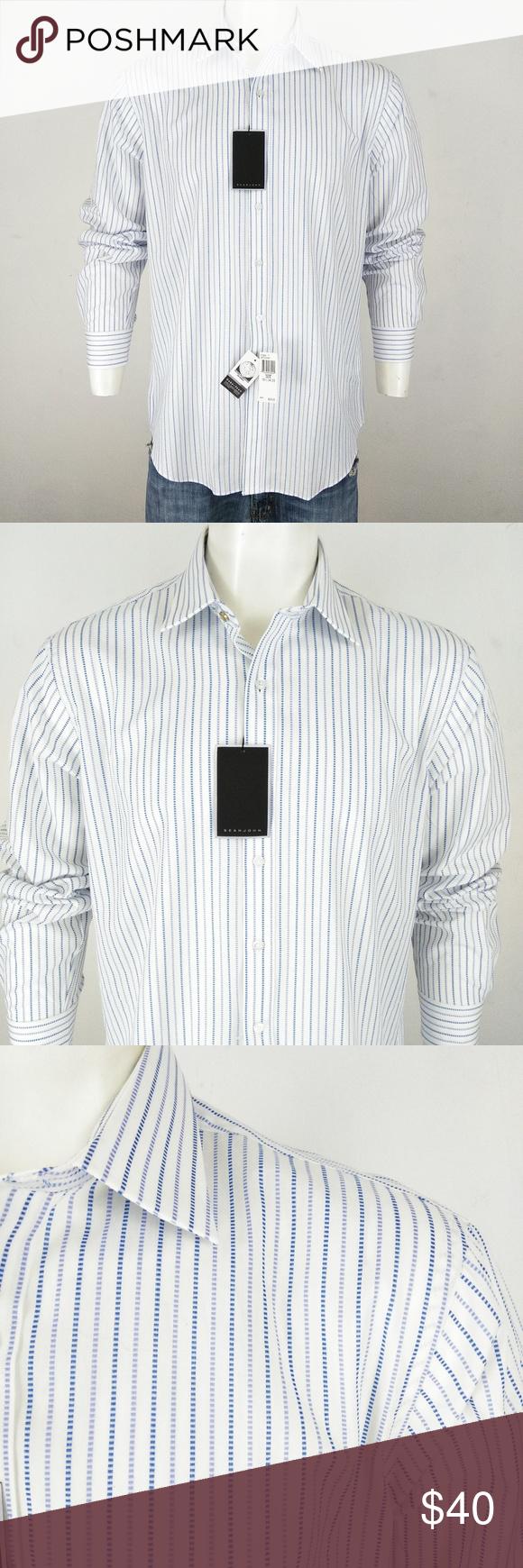 Sean John Nwt Striped White Men S Dress Shirt Mens White Dress Shirt Mens Shirt Dress Shirt Dress [ 1740 x 580 Pixel ]