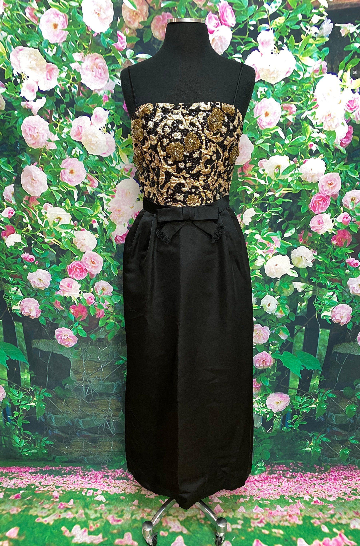 60s Black Silk Gown Beaded Lurex Cocktail Dress Etsy Peach Maxi Dresses Black Silk Silk Gown [ 3000 x 1980 Pixel ]