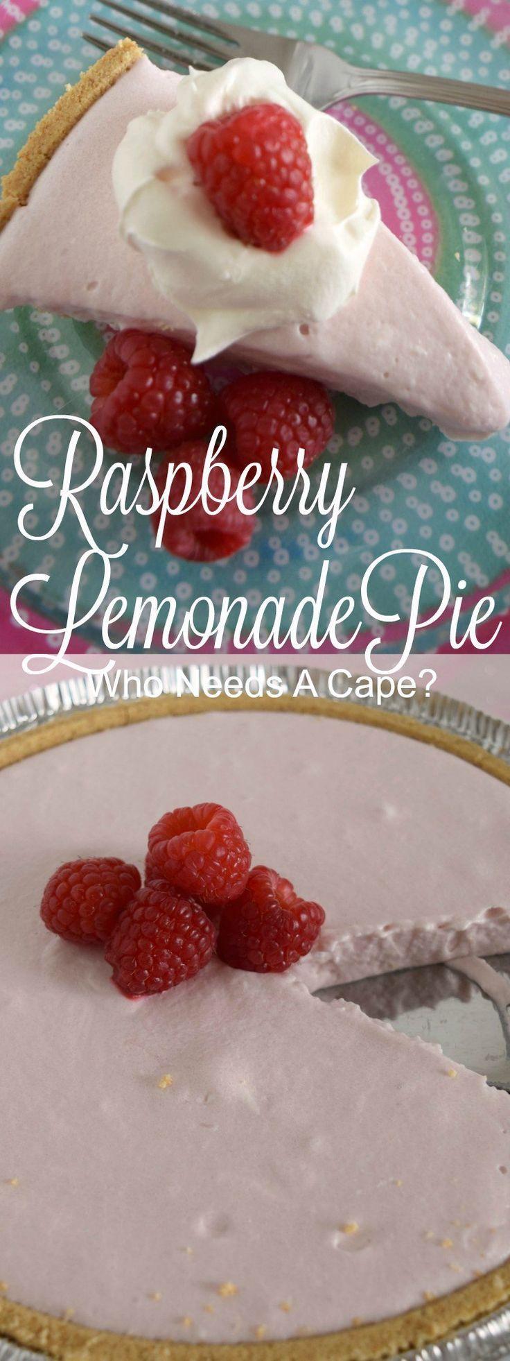 Raspberry Lemonade No-Bake Pie - Who Needs A Cape?