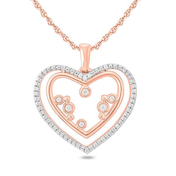 b03cc4e45 1/10 CT. T.w. Diamond Double Heart Outline Pendant in 10K Rose Gold ...