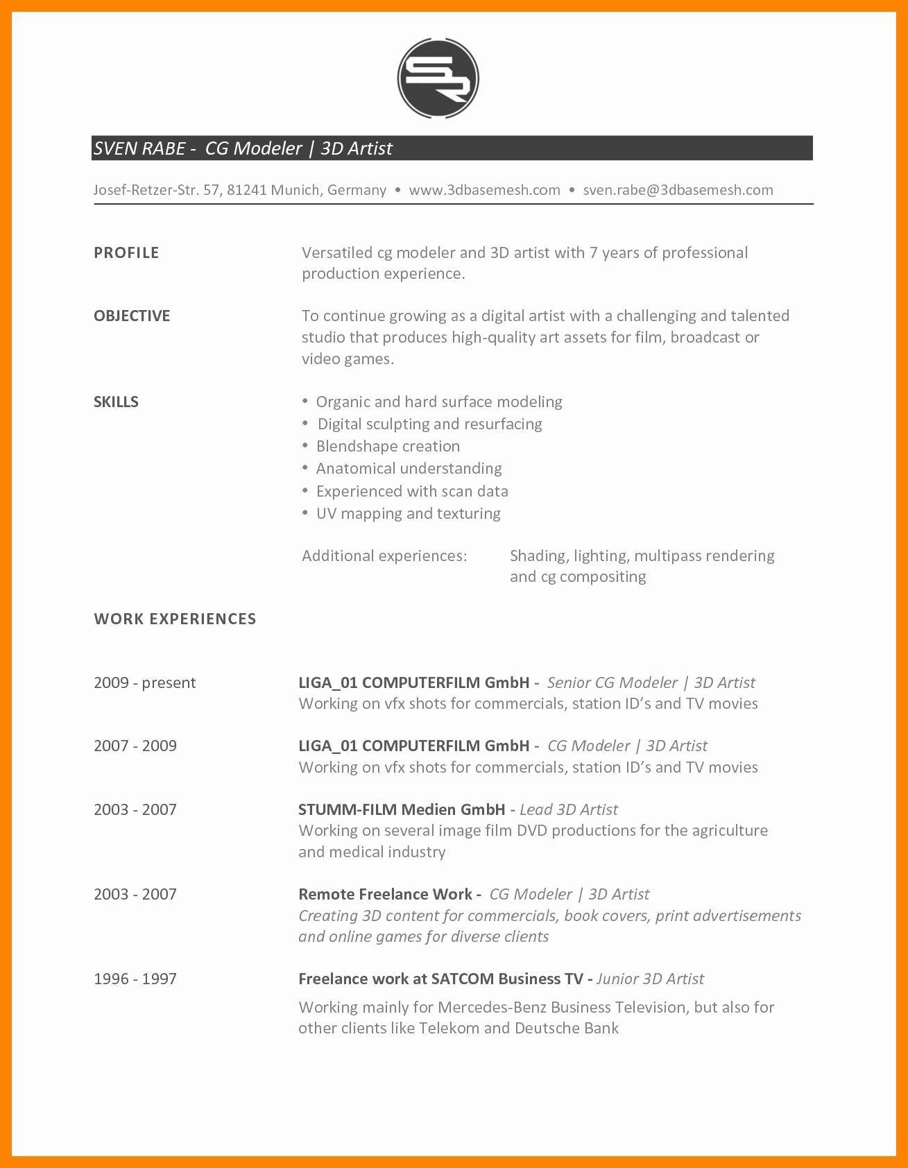 Resume Format Vfx Artist Resume Format Artist Resume Resume