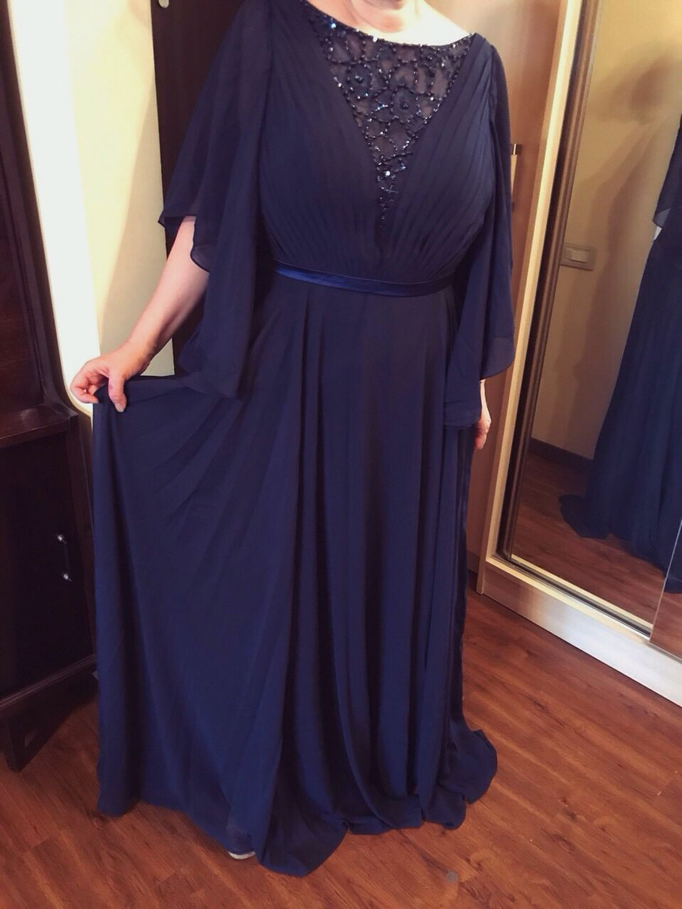 A-Line/Princess Scoop Neck Floor-Length Ruffle Lace Beading Sequins Zipper Up Sleeves 3/4 Sleeves No 2014 Dark Navy Spring Summer Fall Winter General Plus Chiffon Mother of the Bride Dress