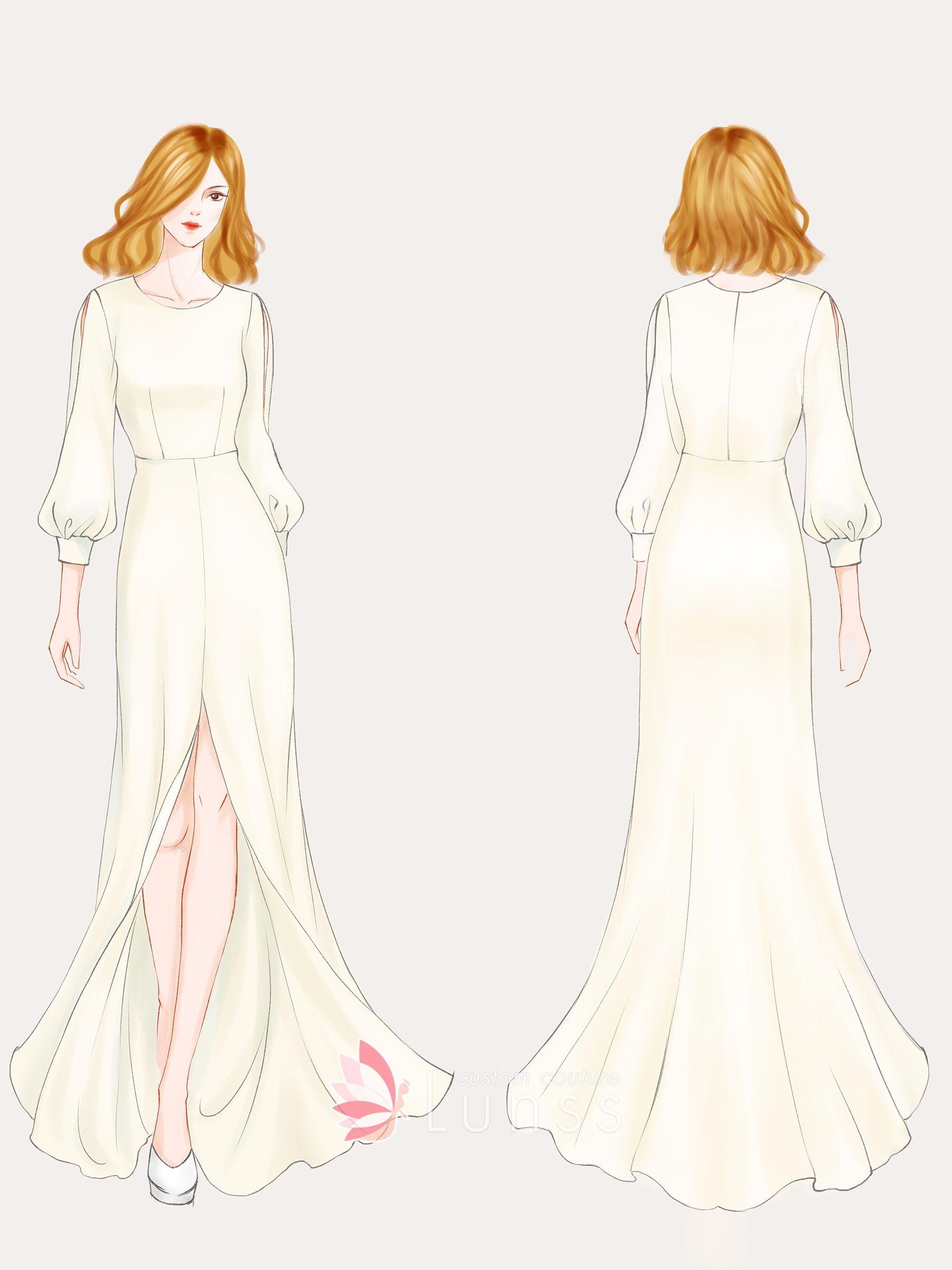 Feminine Long Sleeve Dress Sketch Fashion Illustration Dresses Fashion Drawing Dresses Dress Illustration
