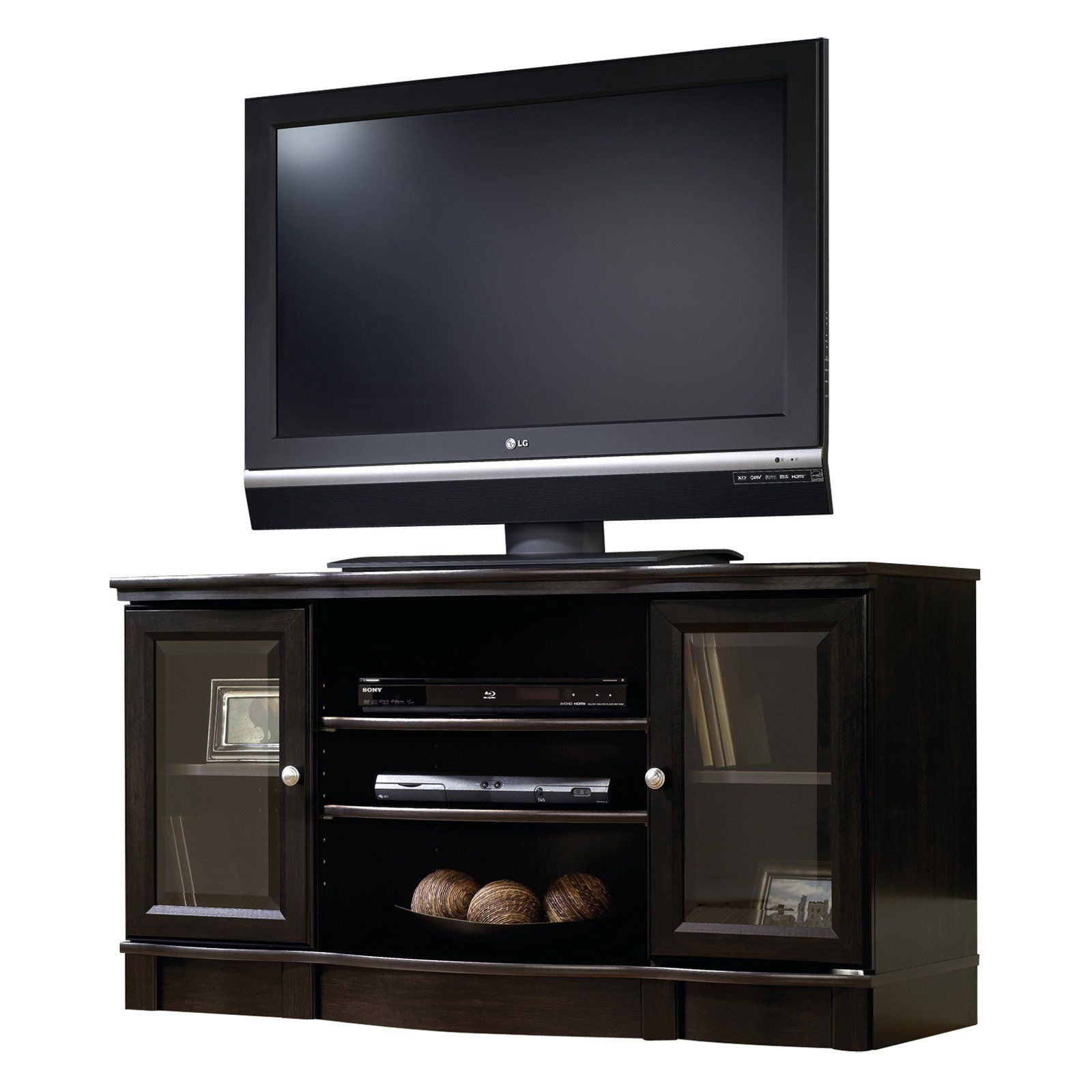 Have To Have It Sauder Regent Place Panel Tv Stand Estate Black  # Meuble Tv Support Tv