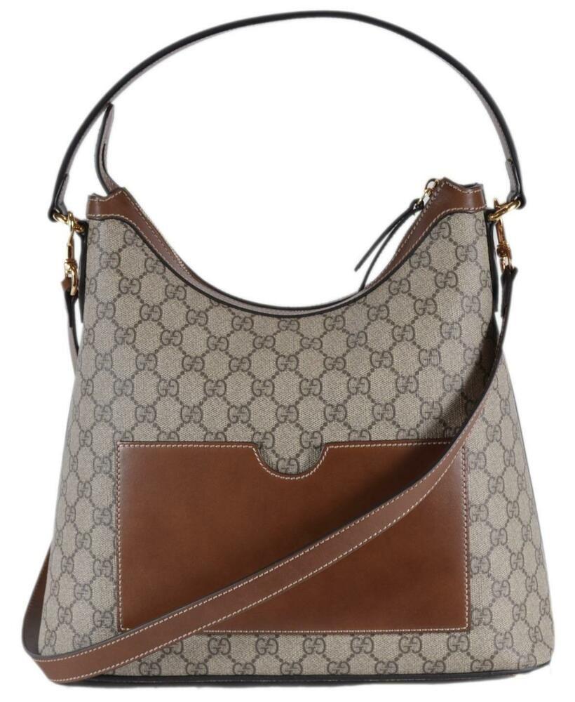 c48f9656a New Gucci 414930 Brown Beige GG Supreme Guccissima Convertible Hobo Purse  Bag #Gucci #ShoulderBag