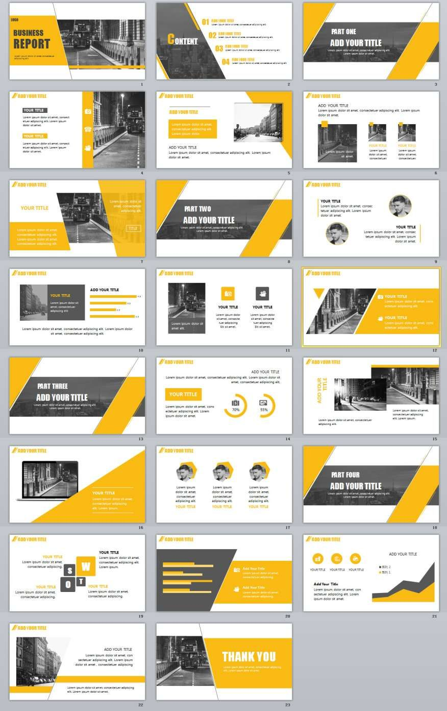 23 yellow business powerpoint template ppt pinterest business