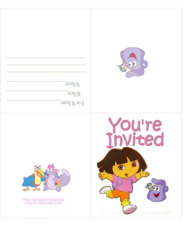 Dora Birthday Invitations Printable Birthday Invitations Birthday Card Printable Happy Birthday Cards