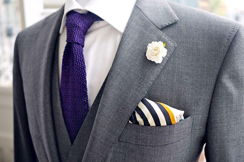 grey solid suit three piece purple tie look book grey