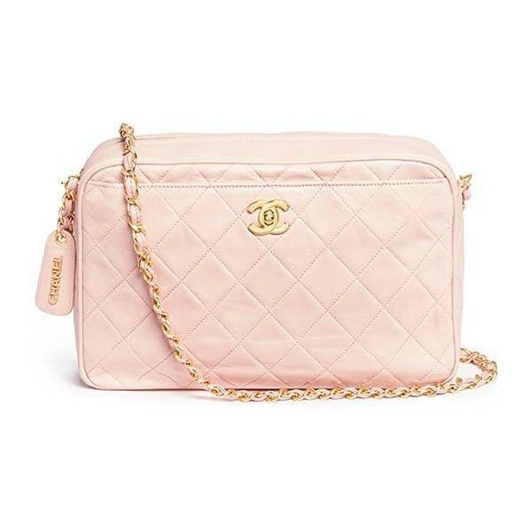 bcd26cd29532 Vintage Chanel Quilted leather camera bag (266,905 INR) ❤ liked on Polyvore  featuring bags, handbags, pink camera bag, kiss-lock handbags, light pink  purse ...