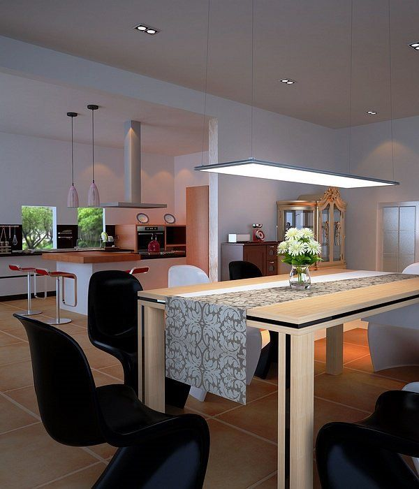 led panel light fixtures modern dining room lighting open plan ...