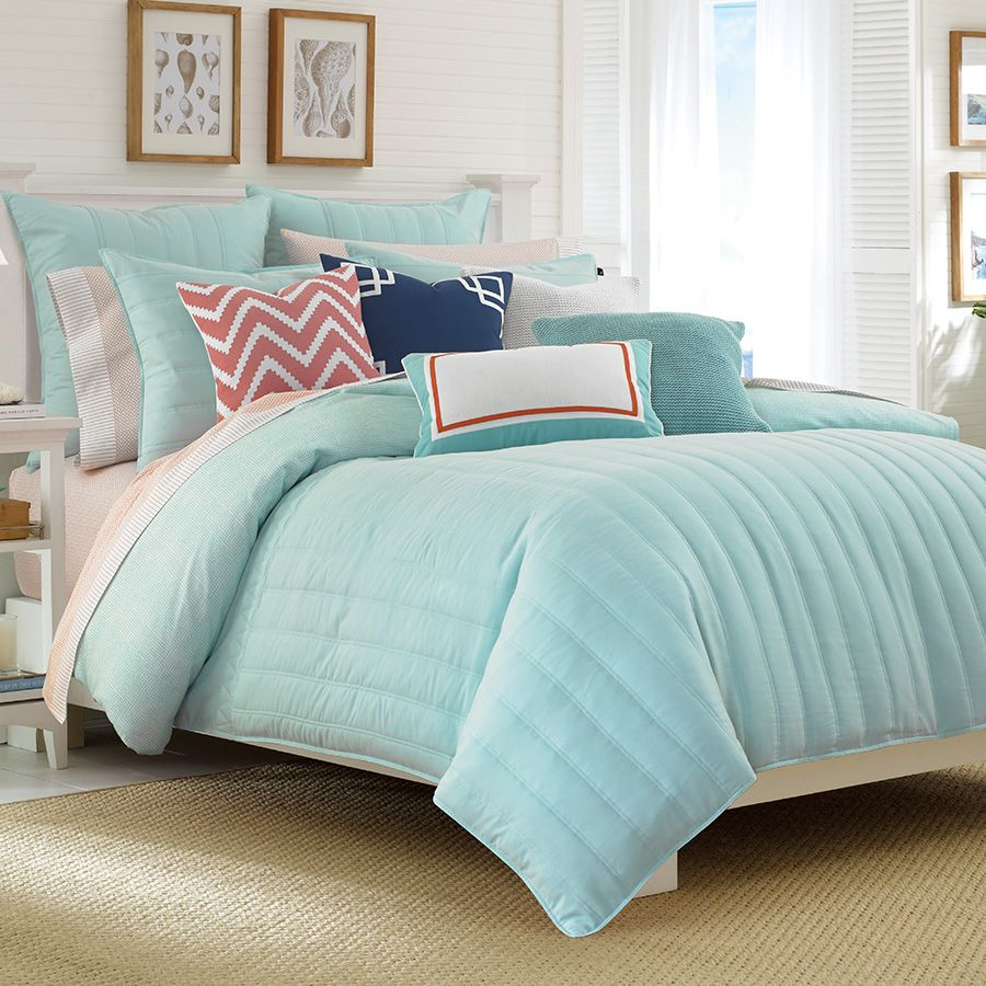 cotton nautica com southport home set comforters dp kitchen queen amazon full white blue comforter