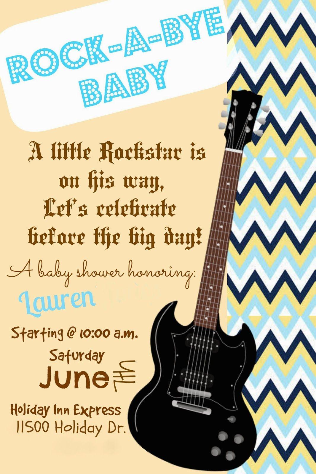 Rockstar baby shower invite #babyshower