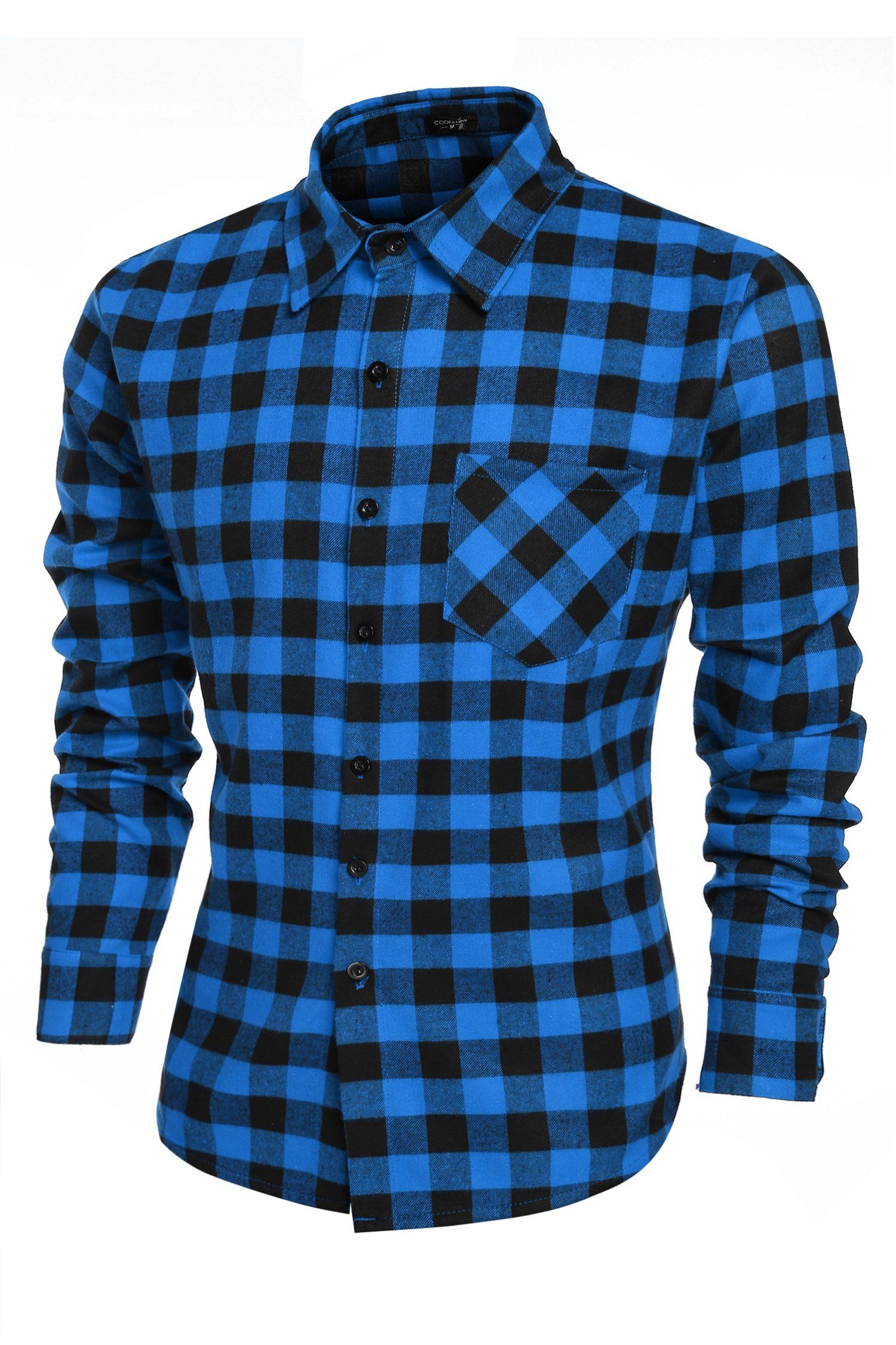 Mens Casual Plaid Long Sleeve Shirt