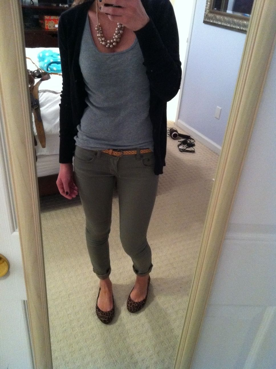 Olive Pants Grey Top Black Navy Cardigan Rolled Up With Flats