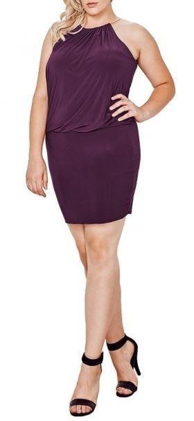 792d152847e Plus Size South Beach Curvy Purple Blouson Midi Plus Dress