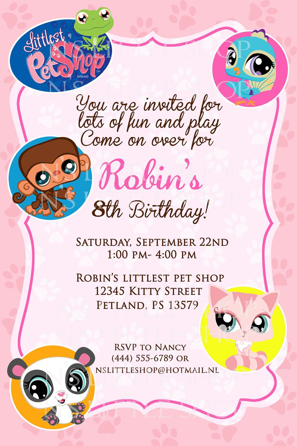 Littlest Pet Shop inspired birthday invitation card / customize ...